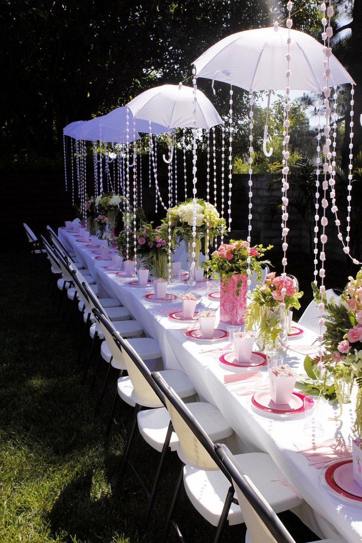Kim kardashian s baby shower savvy chic avenue for Baby shower umbrella decoration ideas