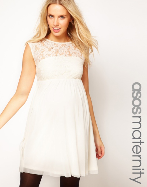 ASOS Maternity Lace And Mesh Skater Dress