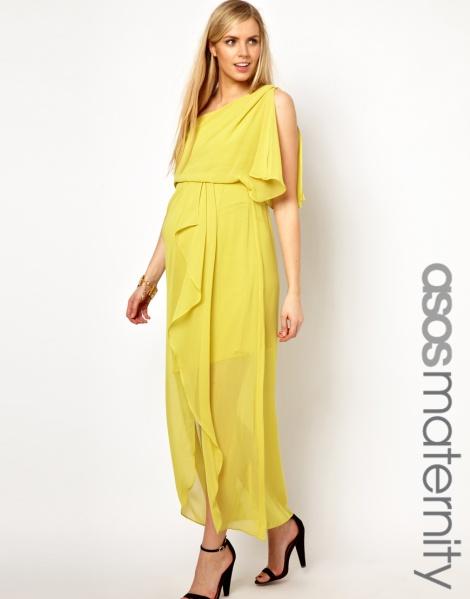 ASOS Maternity One Shoulder Drape Maxi Dress