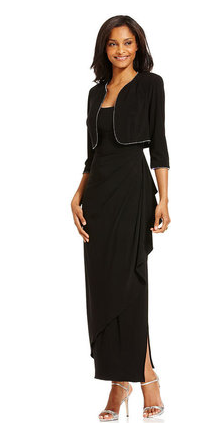 Alex Evenings Dress and Jacket with Draped Beaded Trim