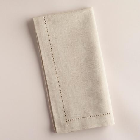 Q2 Kitchen Textiles / Dept 7 456936_HEMSTITCH NAPKIN PARCHMENT     HEMSTITCH
