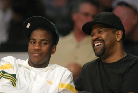 Denzel Washington and son @ LA Lakers game.