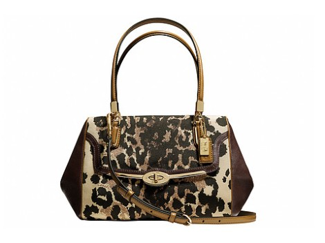 COACH Madison Small Madeline Ocelot Print East West Satchel