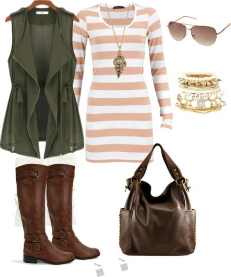 Fall Fashion peach and green