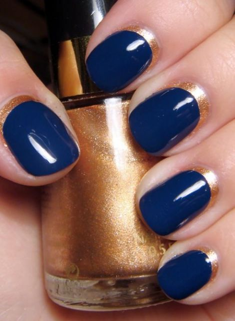 Midnight Gold Mani