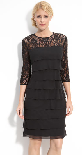 Tiered Chiffon & Lace Sheath Dress by Alex Evenings