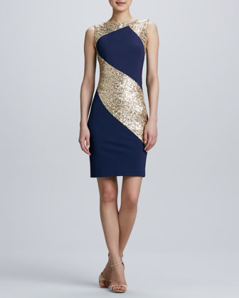 Sequin Ponte Combo Sheath Cocktail Dress by Erin by Erin Fetherston