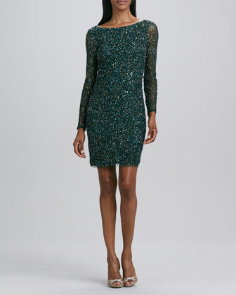 Sequined Long Sleeve Cocktail Dress by Aidan Mattox