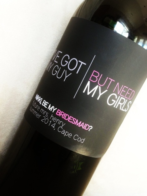 Will you be my bridesmaid wine label1