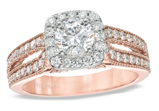 Vera Wang LOVE Collection Engagement Ring in Rose Gold