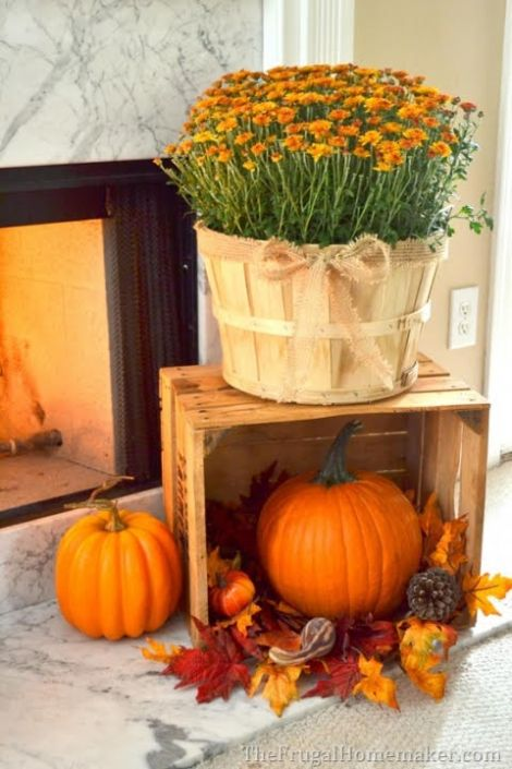 diy fall fireplace